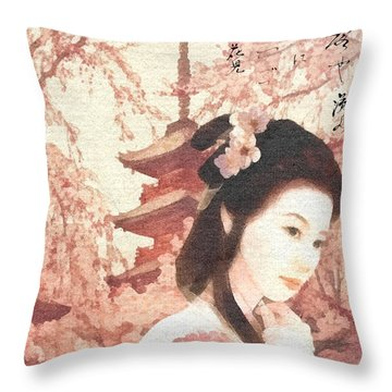 Asian Rose Throw Pillow by Mo T