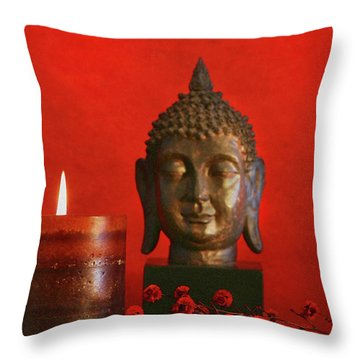 Asian Theme With Candle  Throw Pillow by Sandra Cunningham