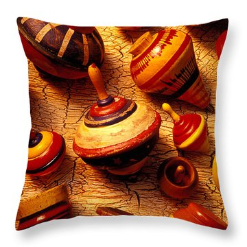 Assorted Toy Tops Throw Pillow by Garry Gay