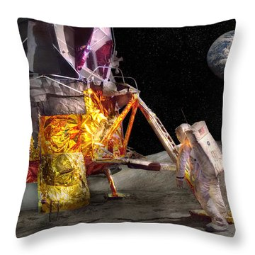Astronaut - One Small Step Throw Pillow by Mike Savad