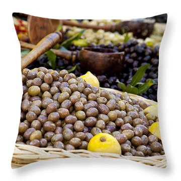 At The Market Throw Pillow by Brian Jannsen