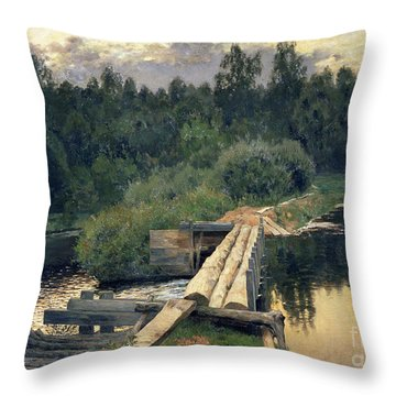 At The Shallow Throw Pillow by Isaak Ilyich Levitan