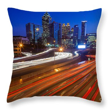 Atlanta Interstate I-85 By Night Throw Pillow by Inge Johnsson