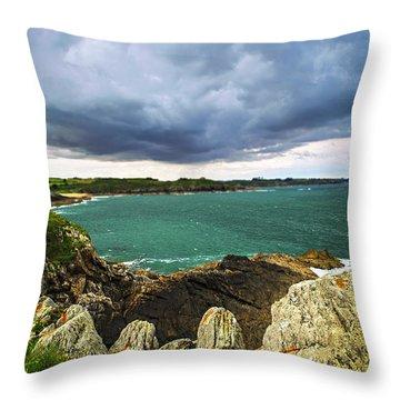 Atlantic Coastline In Brittany Throw Pillow by Elena Elisseeva