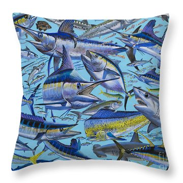 Atlantic Gamefish Off008 Throw Pillow by Carey Chen