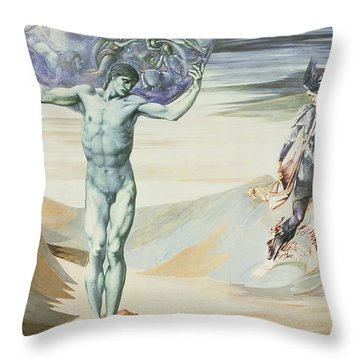 Atlas Turned To Stone, C.1876 Throw Pillow by Sir Edward Coley Burne-Jones