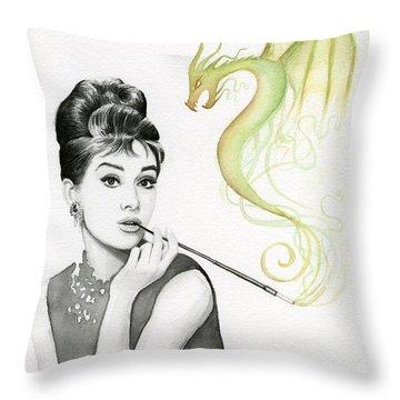 Audrey And Her Magic Dragon Throw Pillow by Olga Shvartsur