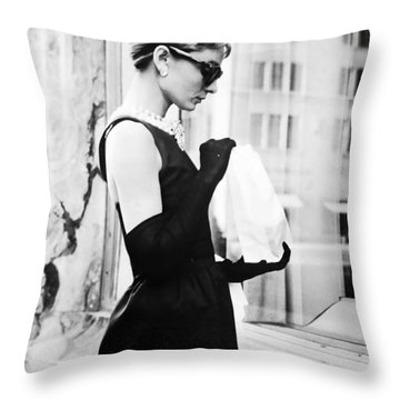 Audrey At Tiffanys Throw Pillow by Nomad Art