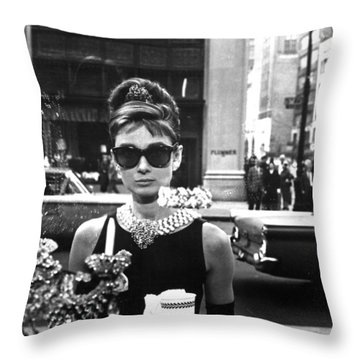 Audrey Hepburn Breakfast At Tiffany's Throw Pillow by Nomad Art