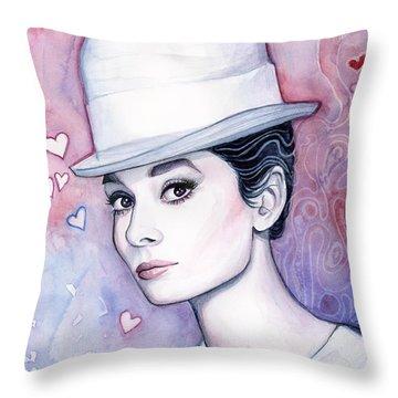 Audrey Hepburn Fashion Watercolor Throw Pillow by Olga Shvartsur