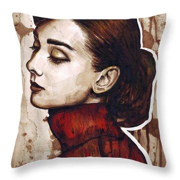Audrey Hepburn Throw Pillow by Olga Shvartsur
