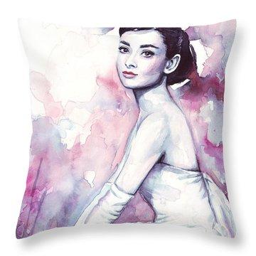 Audrey Hepburn Purple Watercolor Portrait Throw Pillow by Olga Shvartsur
