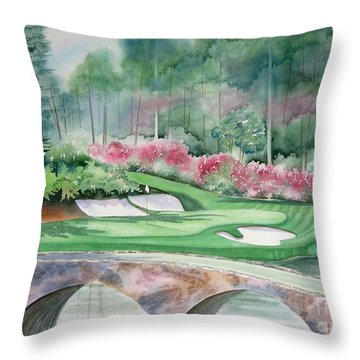 Augusta National 12th Hole Throw Pillow by Deborah Ronglien