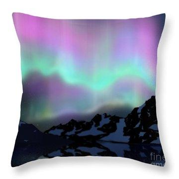 Aurora Over Lake Throw Pillow by Atiketta Sangasaeng