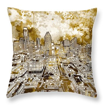 Austin Texas Abstract Panorama 6 Throw Pillow by Bekim Art