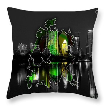 Austin Texas Map And Skyline Watercolor Throw Pillow by Marvin Blaine