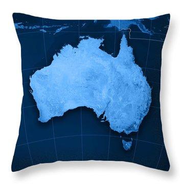 Australia Topographic Map Throw Pillow by Frank Ramspott