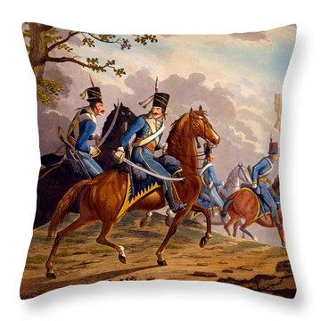Austrian Hussars In Pursuit Throw Pillow by Conrad Gessner