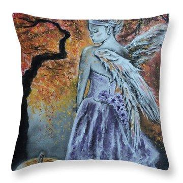 Autumn Angel Throw Pillow by Carla Carson