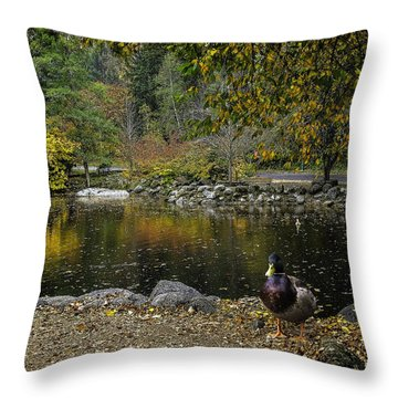 Autumn At Lithia Park Pond Throw Pillow by Diane Schuster
