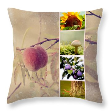Autumn Collage Throw Pillow by Heike Hultsch