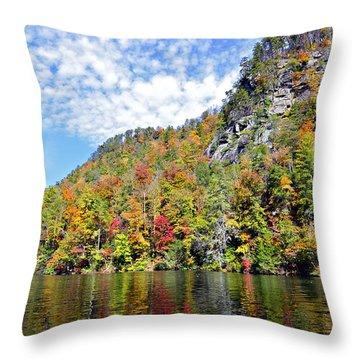Autumn Colors On A Lake Throw Pillow by Susan Leggett