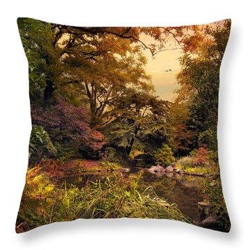 Autumn Garden Sunset Throw Pillow by Jessica Jenney