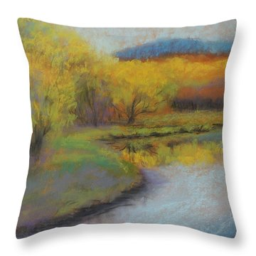 Autumn Glow At Catfish Corner Throw Pillow by Sherri Anderson