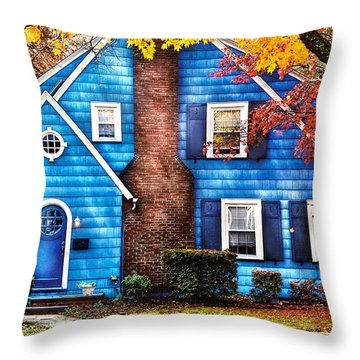 Autumn - House - Little Dream House  Throw Pillow by Mike Savad