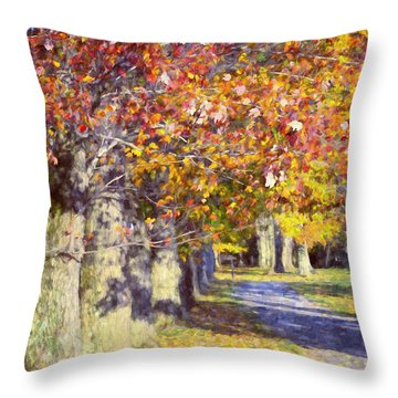 Autumn In Hyde Park Throw Pillow by Joan Carroll