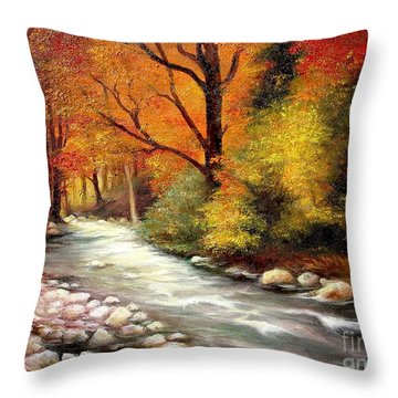 Autumn In The Forest Throw Pillow by Sorin Apostolescu