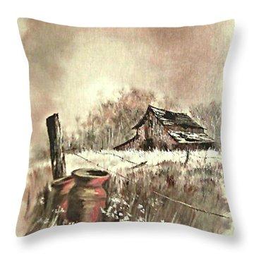 Autumn In View At Mac Gregors Barn Throw Pillow by Carol Wisniewski