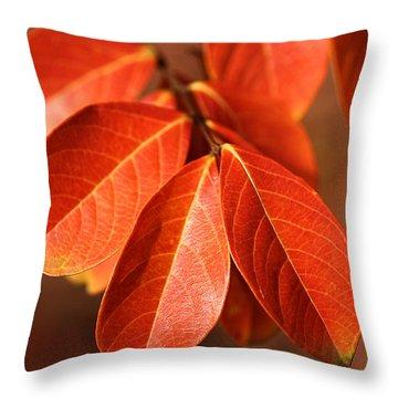 Autumn Leaves Throw Pillow by Joy Watson