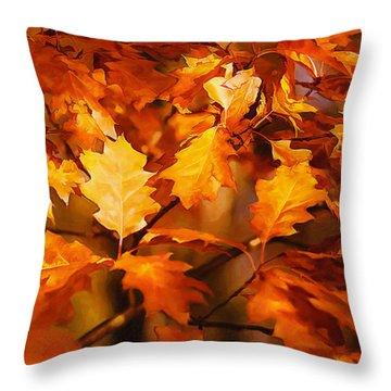 Autumn Leaves Oil Throw Pillow by Steve Harrington