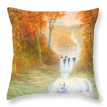 Autumn Morning Throw Pillow by Andrew Farley