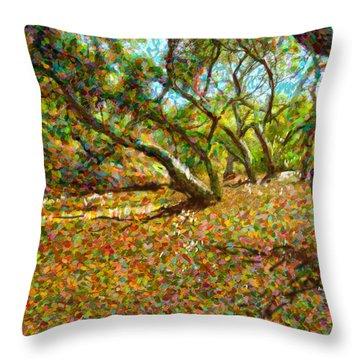 Autumn Oak Forest Throw Pillow by Angela A Stanton