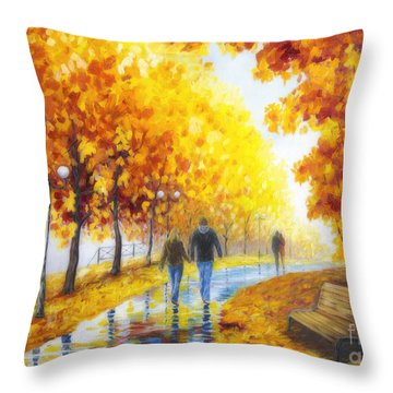 Autumn Parkway Throw Pillow by Veikko Suikkanen