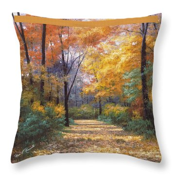 Autumn Road Tapestry Look Throw Pillow by Diane Romanello