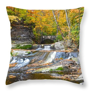 Autumn Waterfall Throw Pillow by Frozen in Time Fine Art Photography