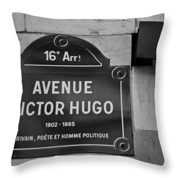 Avenue Victor Hugo Paris Road Sign Throw Pillow by Georgia Fowler