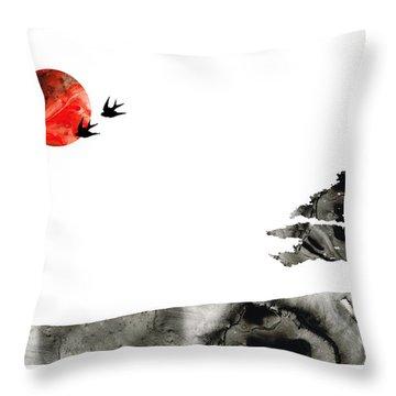 Awakening - Zen Landscape Art Throw Pillow by Sharon Cummings