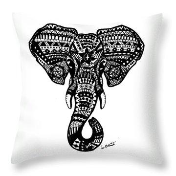 Aztec Elephant Head Throw Pillow by Loren Hill