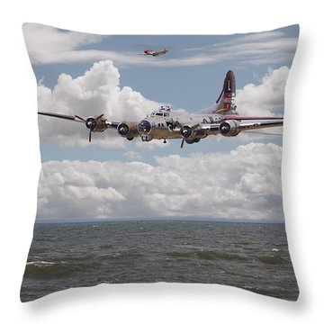 B17 The Hardest Mile Throw Pillow by Pat Speirs