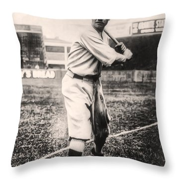 Babe Ruth Throw Pillow by Bill Cannon