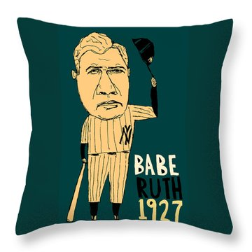 Babe Ruth New York Yankees Throw Pillow by Jay Perkins