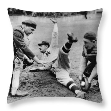 Babe Ruth Slides Home Throw Pillow by Underwood Archives
