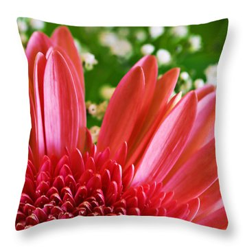 Babies Breath And Gerber Daisy Throw Pillow by Marilyn Hunt