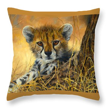 Baby Cheetah  Throw Pillow by Lucie Bilodeau