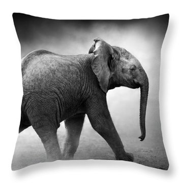 Baby Elephant Running Throw Pillow by Johan Swanepoel