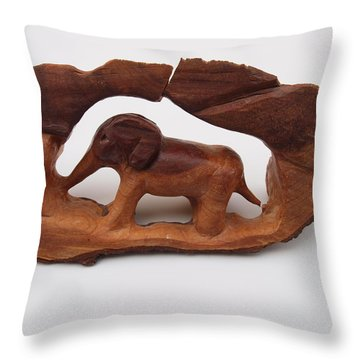 Baby Elephant Stuck In A Tree Throw Pillow by Robert Margetts
